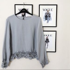 NWT Zara trafaluc crochet trim long sleeve blouse